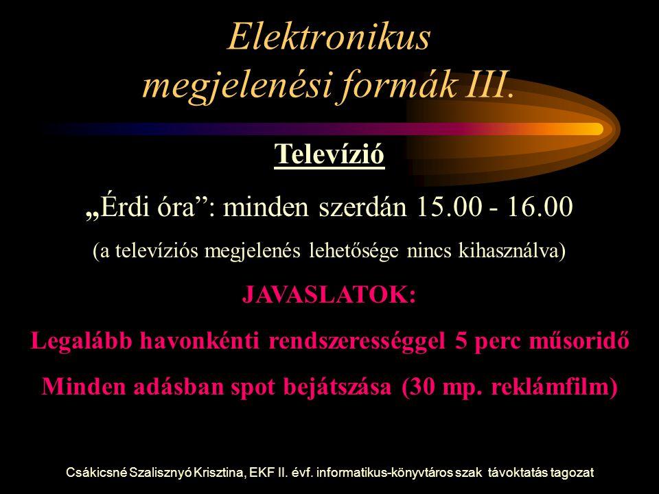 Elektronikus megjelenési formák III.