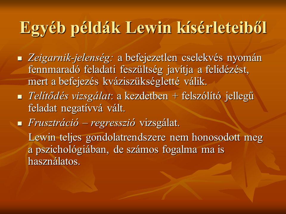 Egyéb példák Lewin kísérleteiből