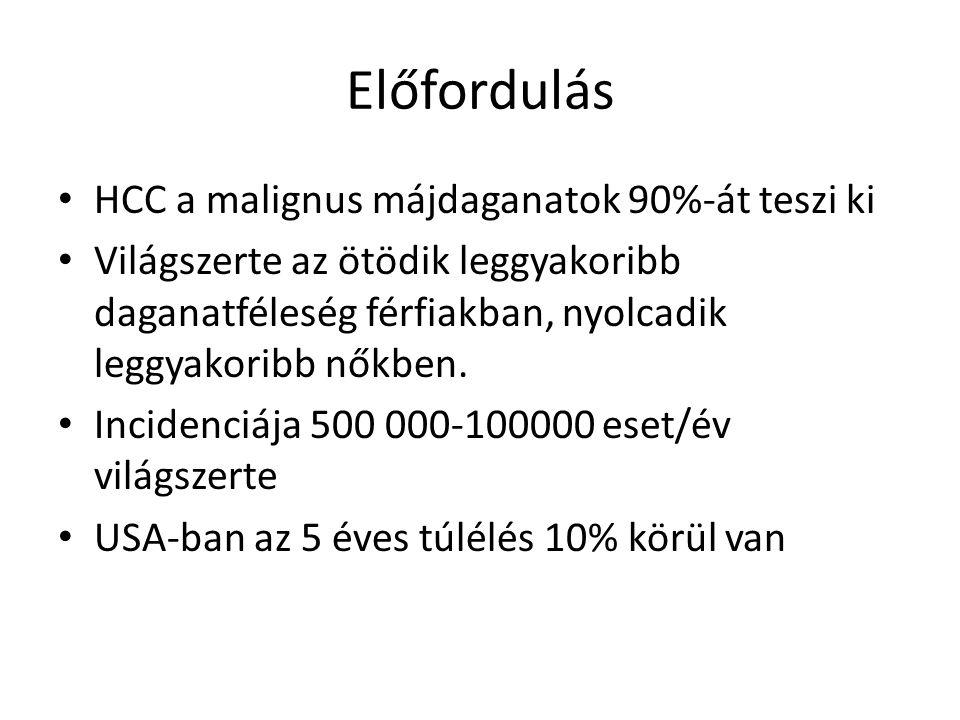 Előfordulás HCC a malignus májdaganatok 90%-át teszi ki