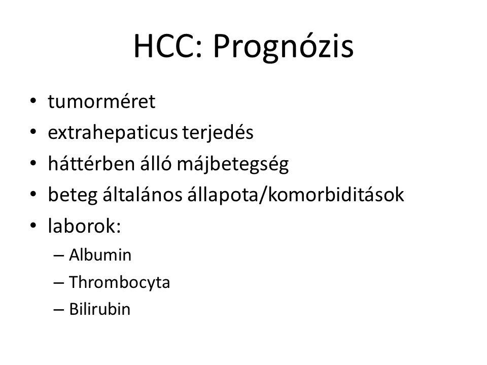 HCC: Prognózis tumorméret extrahepaticus terjedés