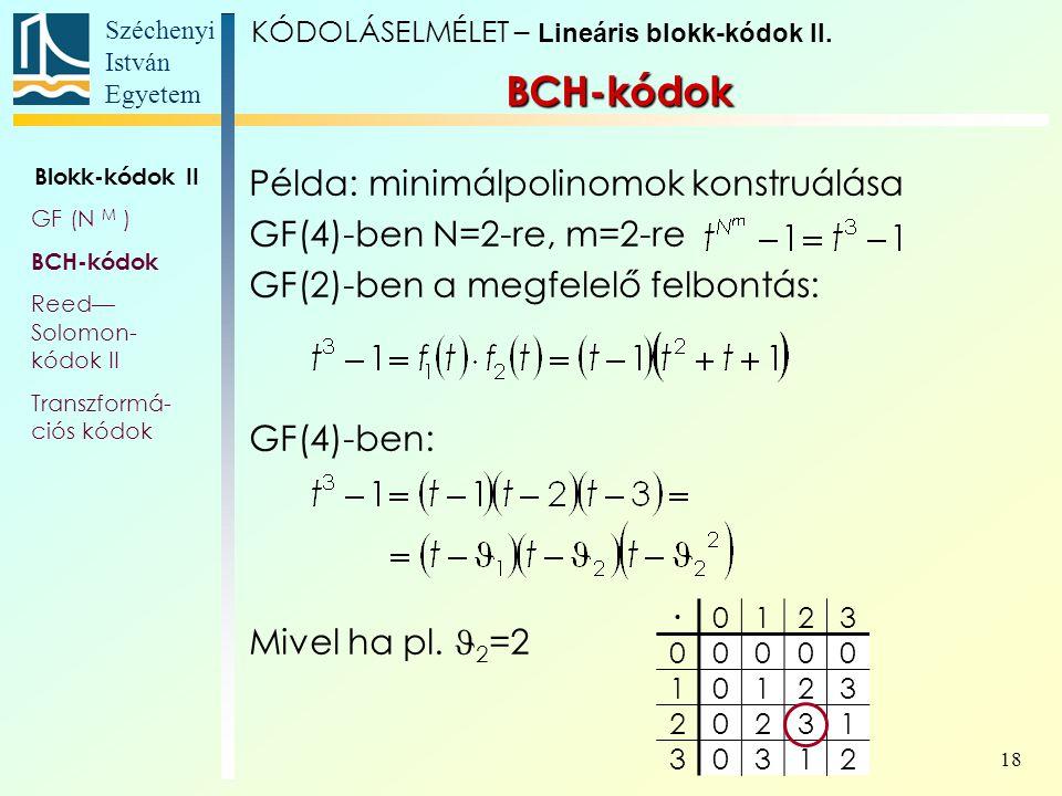 BCH-kódok Példa: minimálpolinomok konstruálása