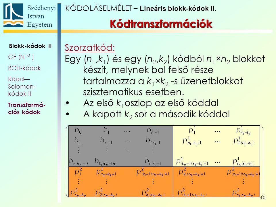 Kódtranszformációk Szorzatkód: