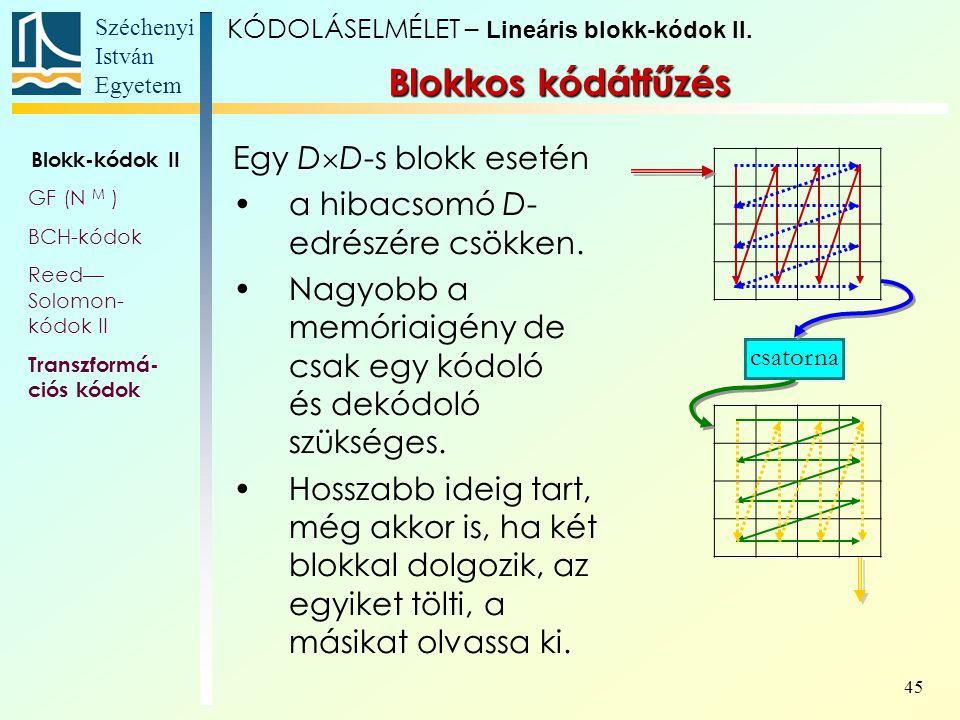 Blokkos kódátfűzés Egy DD-s blokk esetén