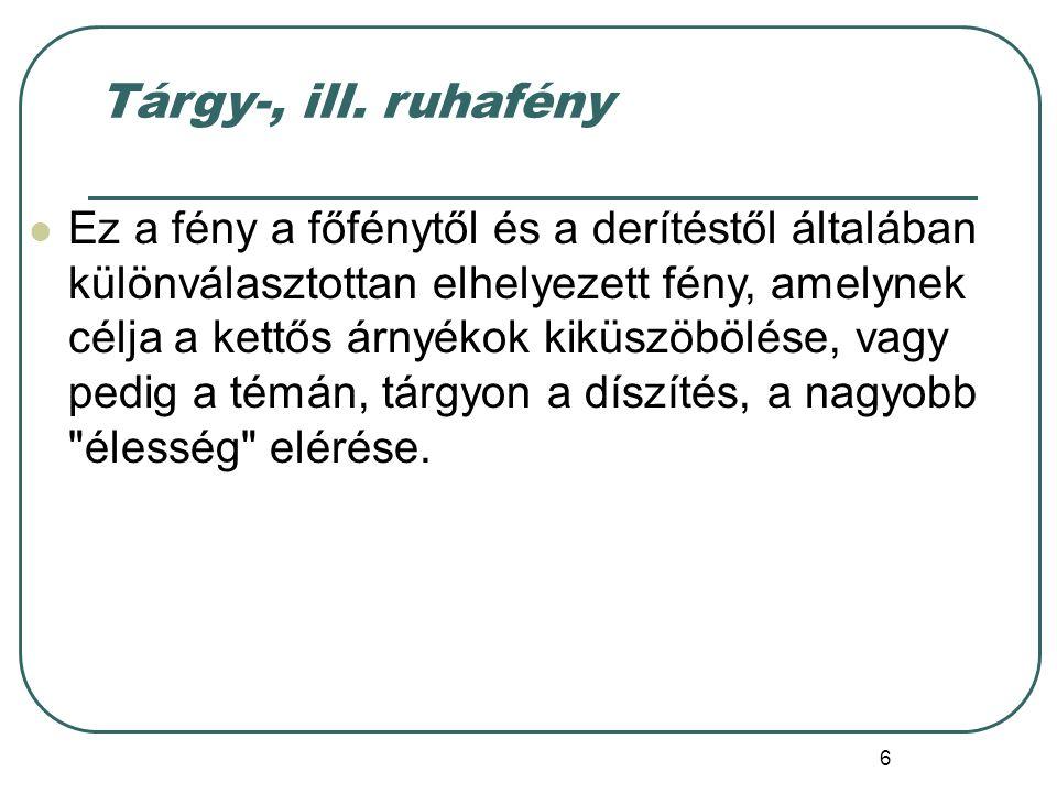 Tárgy-, ill. ruhafény