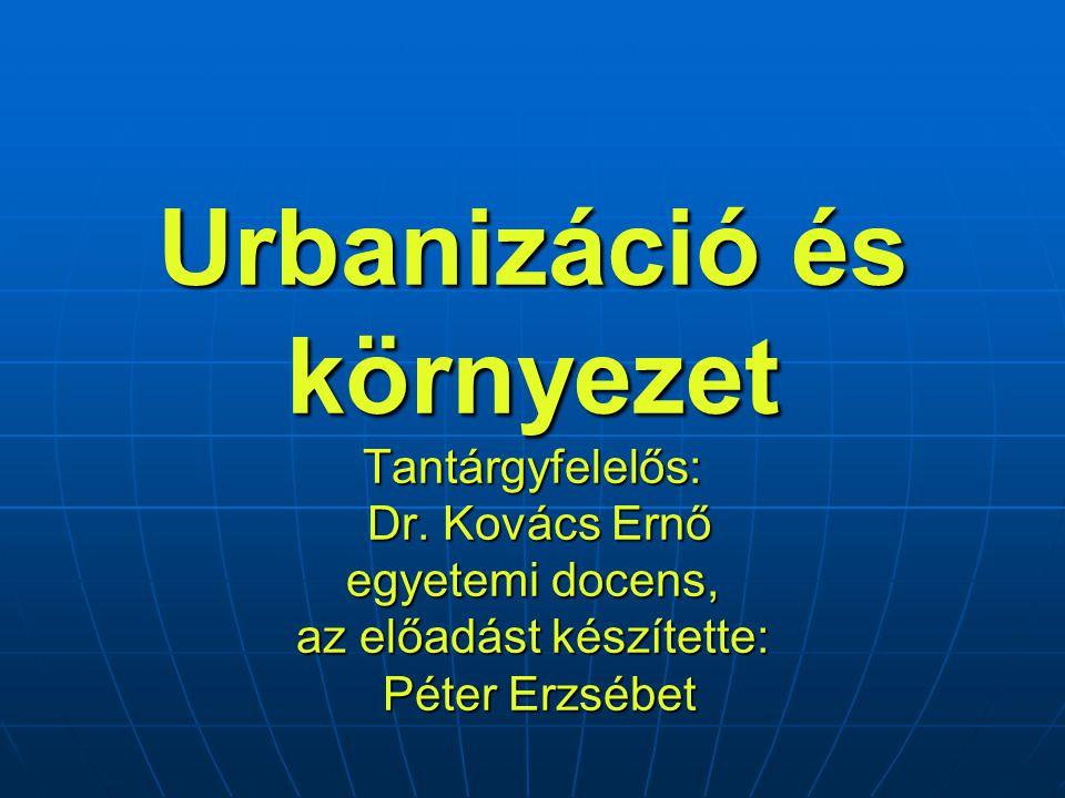 Urbanizáció és környezet Tantárgyfelelős: Dr