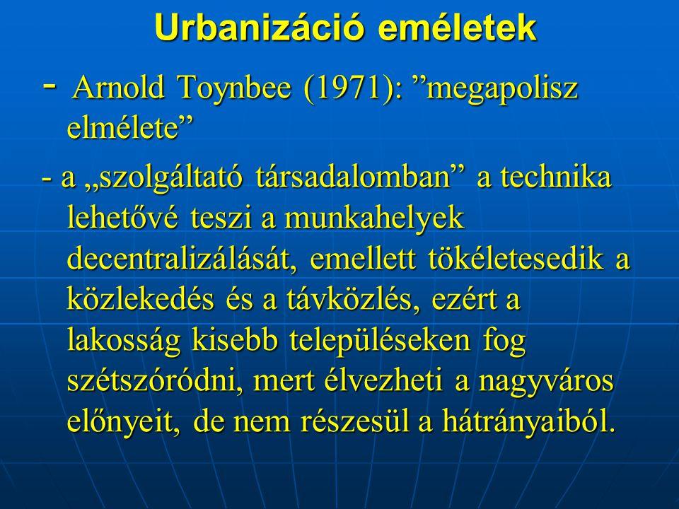 - Arnold Toynbee (1971): megapolisz elmélete