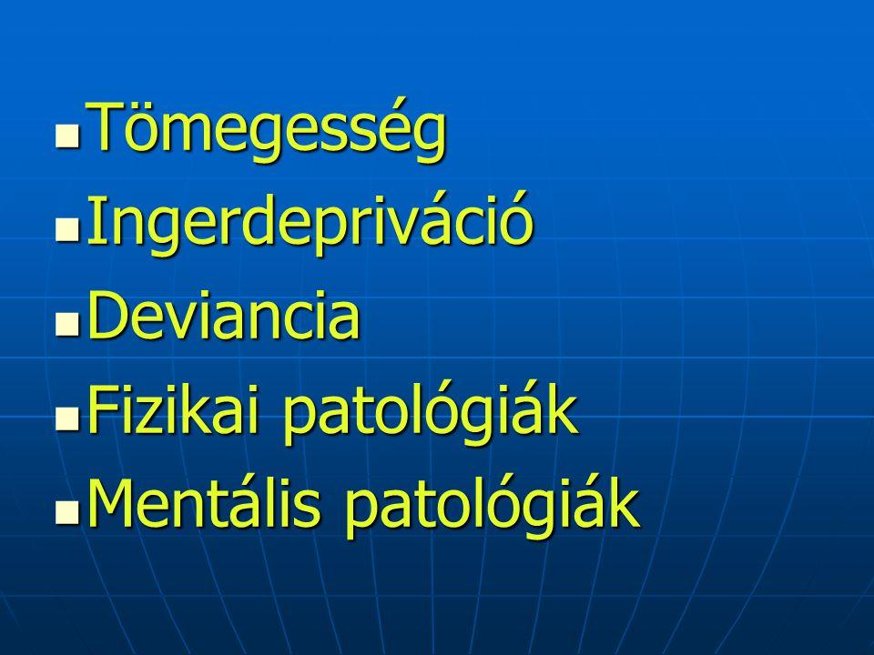 Tömegesség Ingerdepriváció Deviancia Fizikai patológiák Mentális patológiák