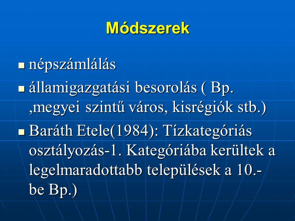 Módszerek népszámlálás. államigazgatási besorolás ( Bp. ,megyei szintű város, kisrégiók stb.)