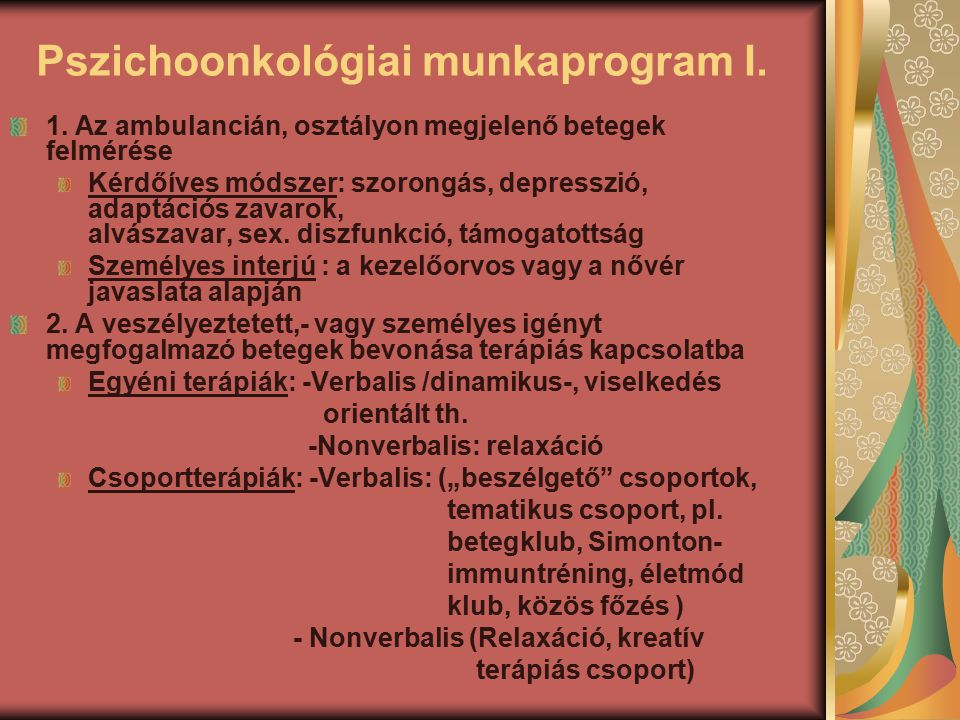 Pszichoonkológiai munkaprogram I.