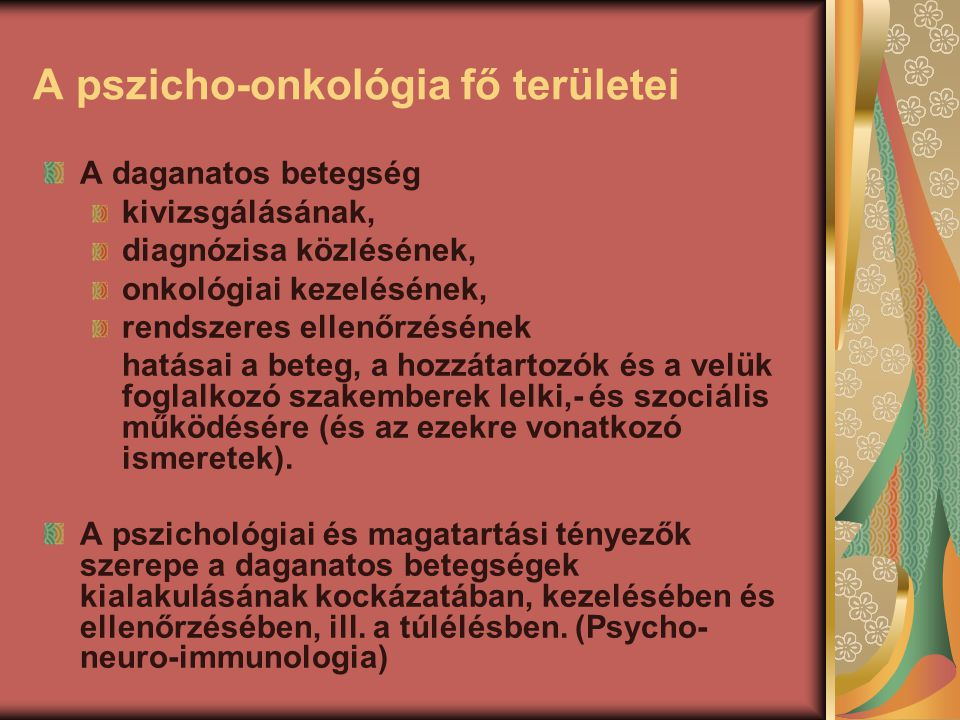 A pszicho-onkológia fő területei