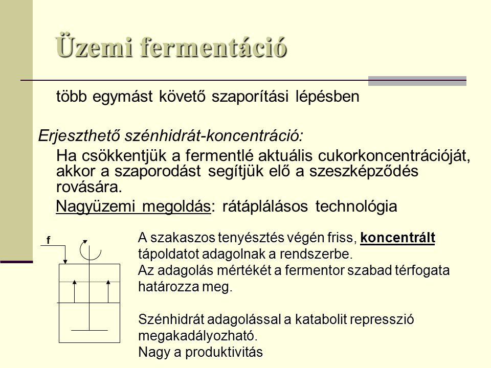 Üzemi fermentáció Erjeszthető szénhidrát-koncentráció: