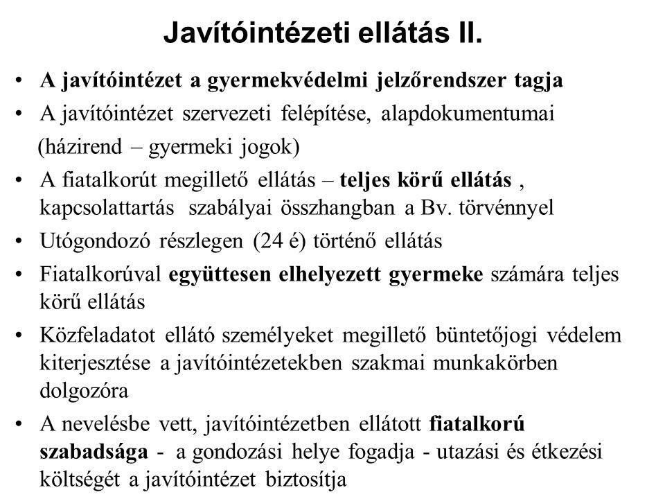 Javítóintézeti ellátás II.