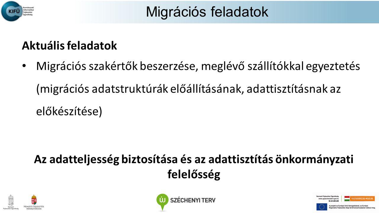 Migrációs feladatok Aktuális feladatok