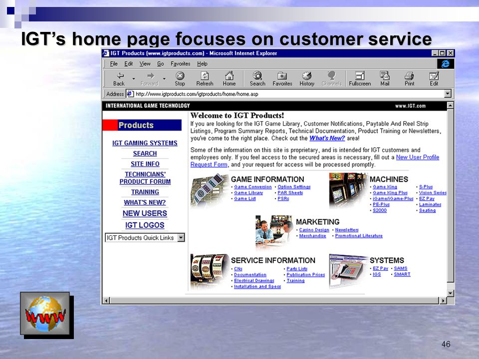 IGT's home page focuses on customer service