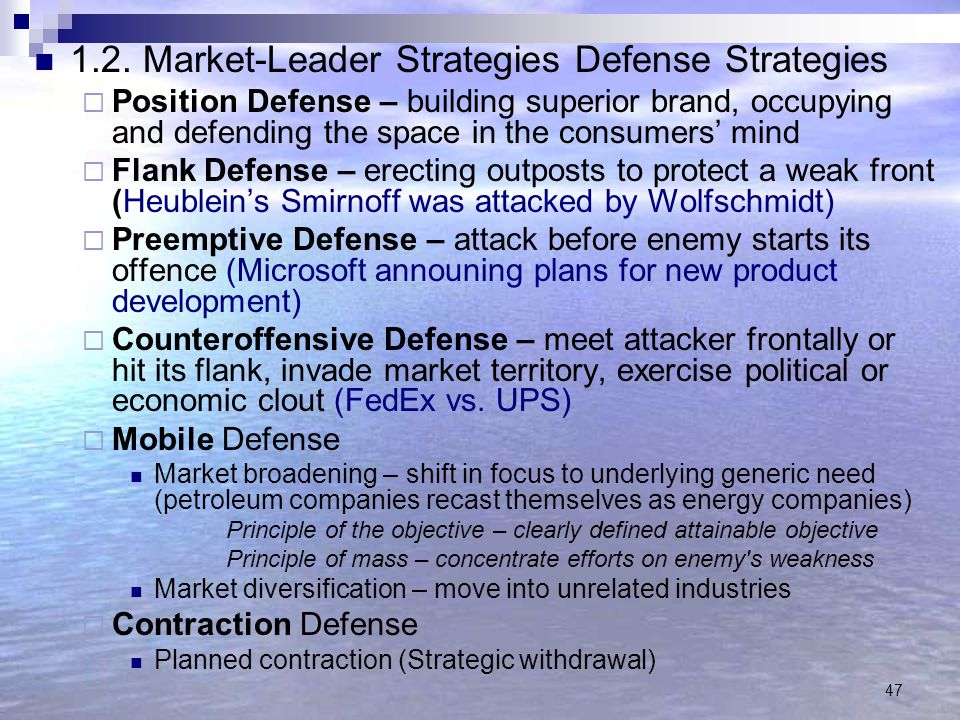 1.2. Market-Leader Strategies Defense Strategies