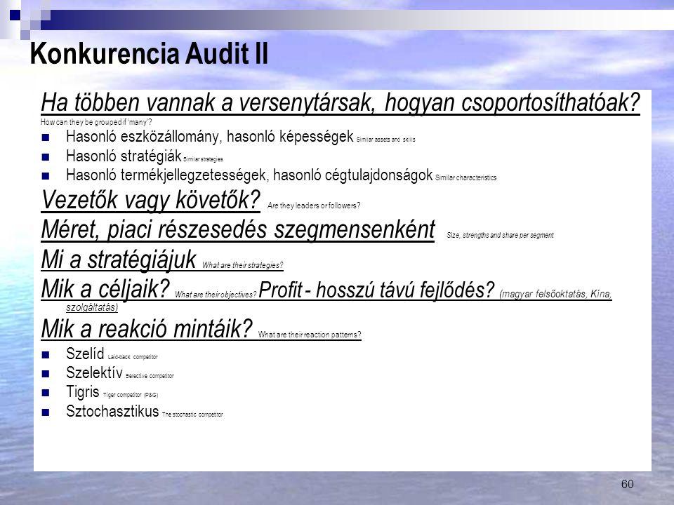 Konkurencia Audit II Ha többen vannak a versenytársak, hogyan csoportosíthatóak How can they be grouped if 'many'