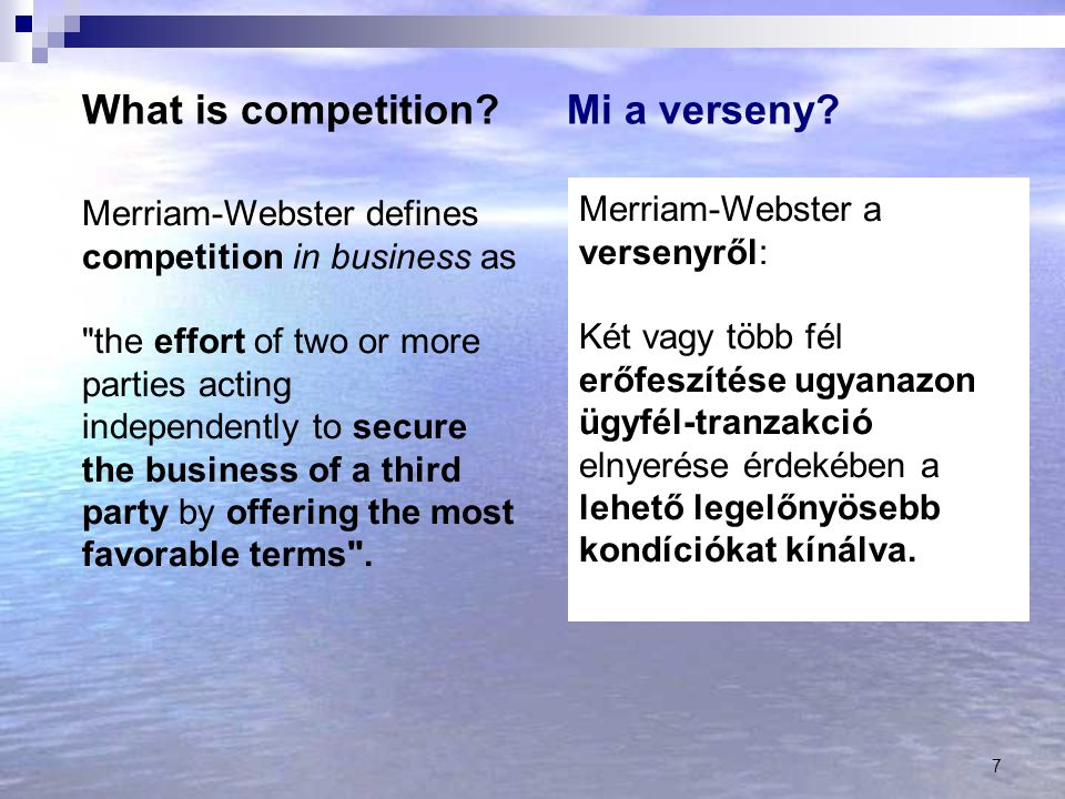 What is competition Mi a verseny