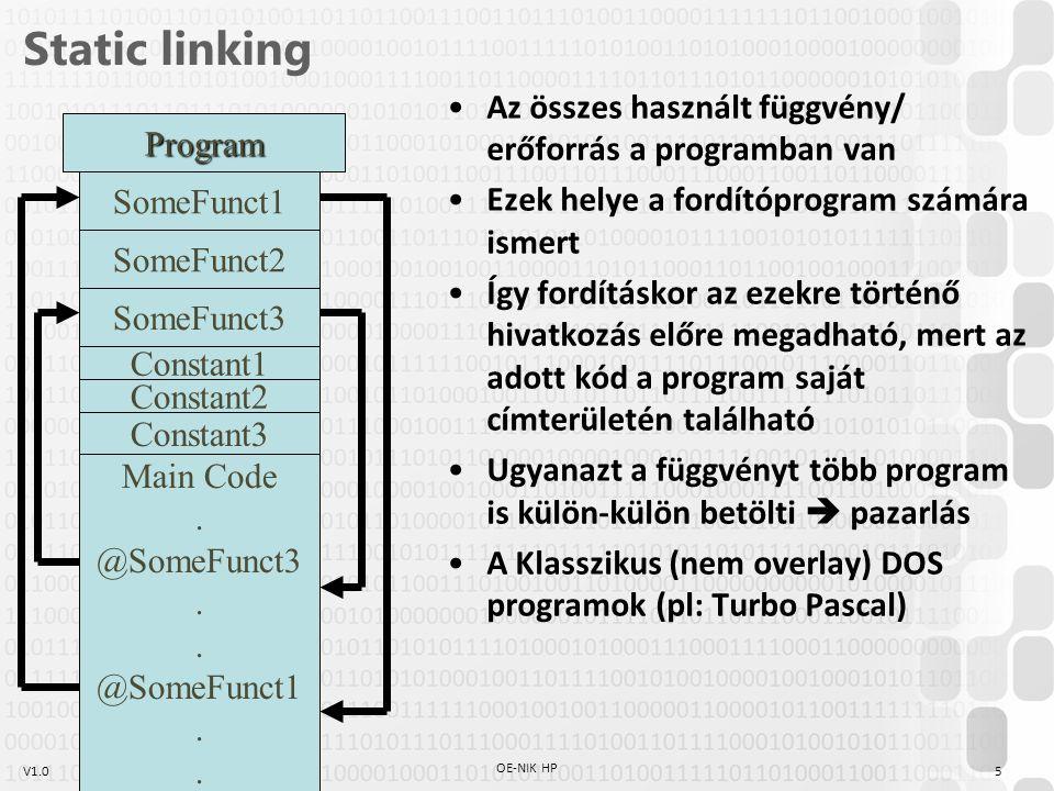 Static linking Az összes használt függvény/ erőforrás a programban van