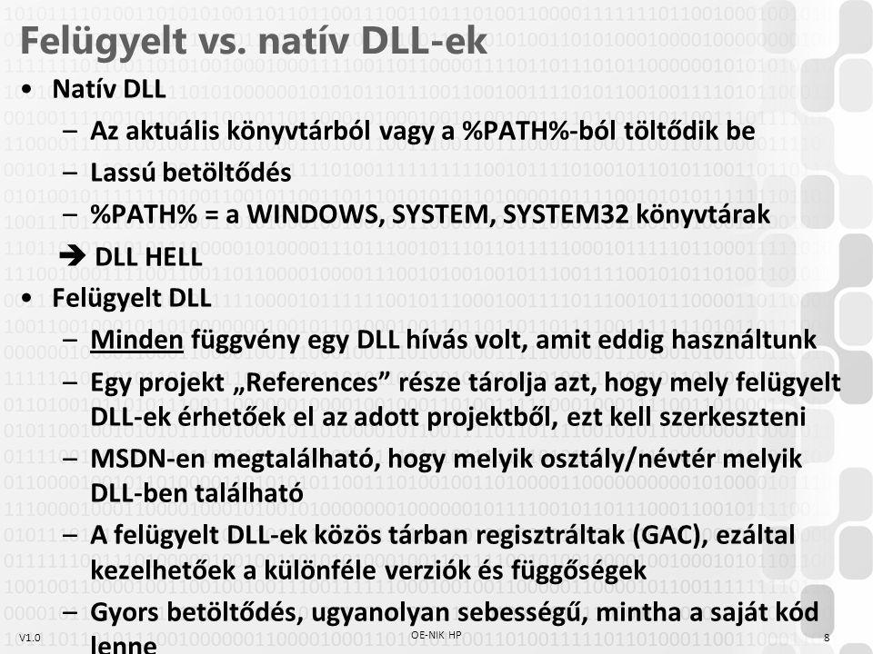 Felügyelt vs. natív DLL-ek