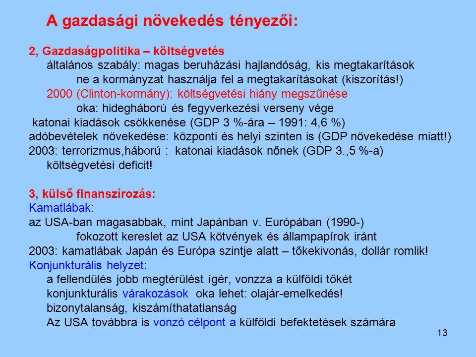A gazdasági növekedés tényezői: