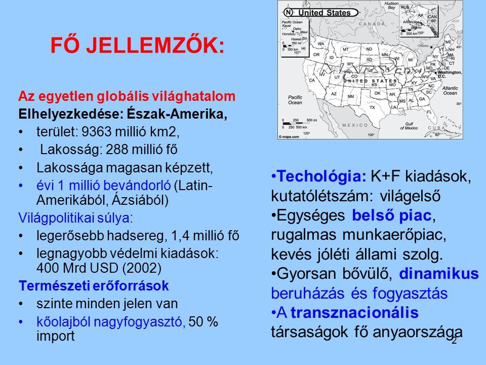 FŐ JELLEMZŐK: Techológia: K+F kiadások, kutatólétszám: világelső