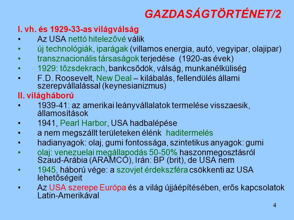 GAZDASÁGTÖRTÉNET/2 I. vh. és 1929-33-as világválság