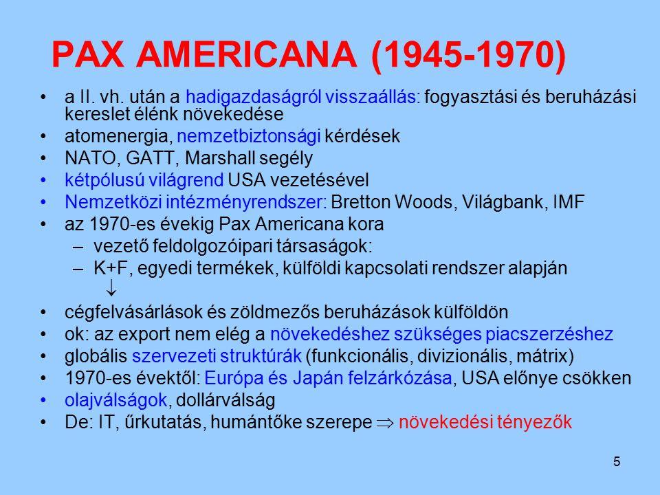 PAX AMERICANA (1945-1970) a II. vh. után a hadigazdaságról visszaállás: fogyasztási és beruházási kereslet élénk növekedése.