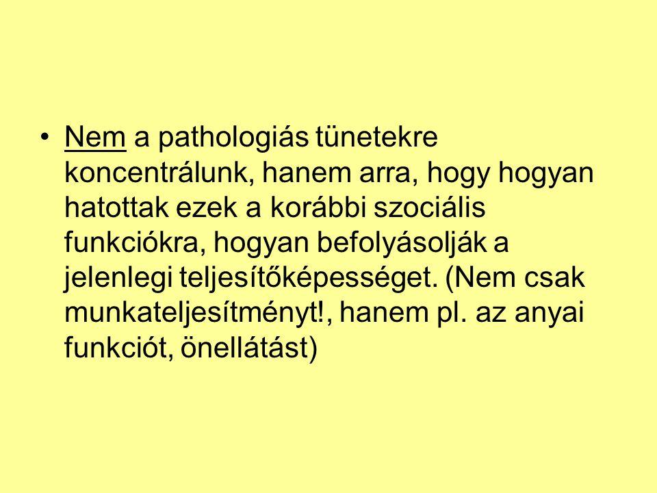 Nem a pathologiás tünetekre koncentrálunk, hanem arra, hogy hogyan hatottak ezek a korábbi szociális funkciókra, hogyan befolyásolják a jelenlegi teljesítőképességet.