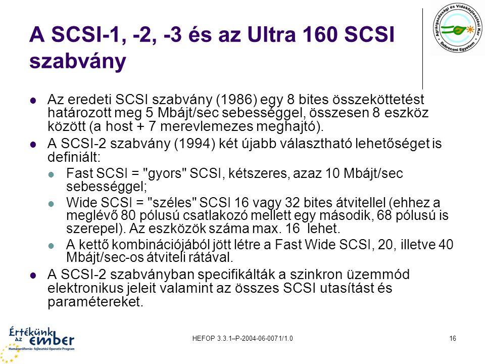 A SCSI-1, -2, -3 és az Ultra 160 SCSI szabvány