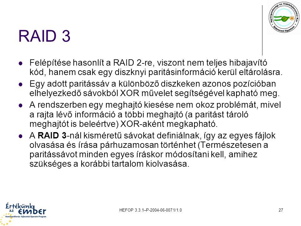RAID 3 Felépítése hasonlít a RAID 2-re, viszont nem teljes hibajavító kód, hanem csak egy diszknyi paritásinformáció kerül eltárolásra.
