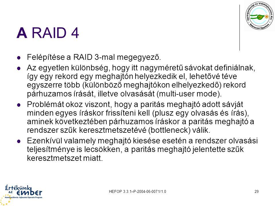 A RAID 4 Felépítése a RAID 3-mal megegyező.