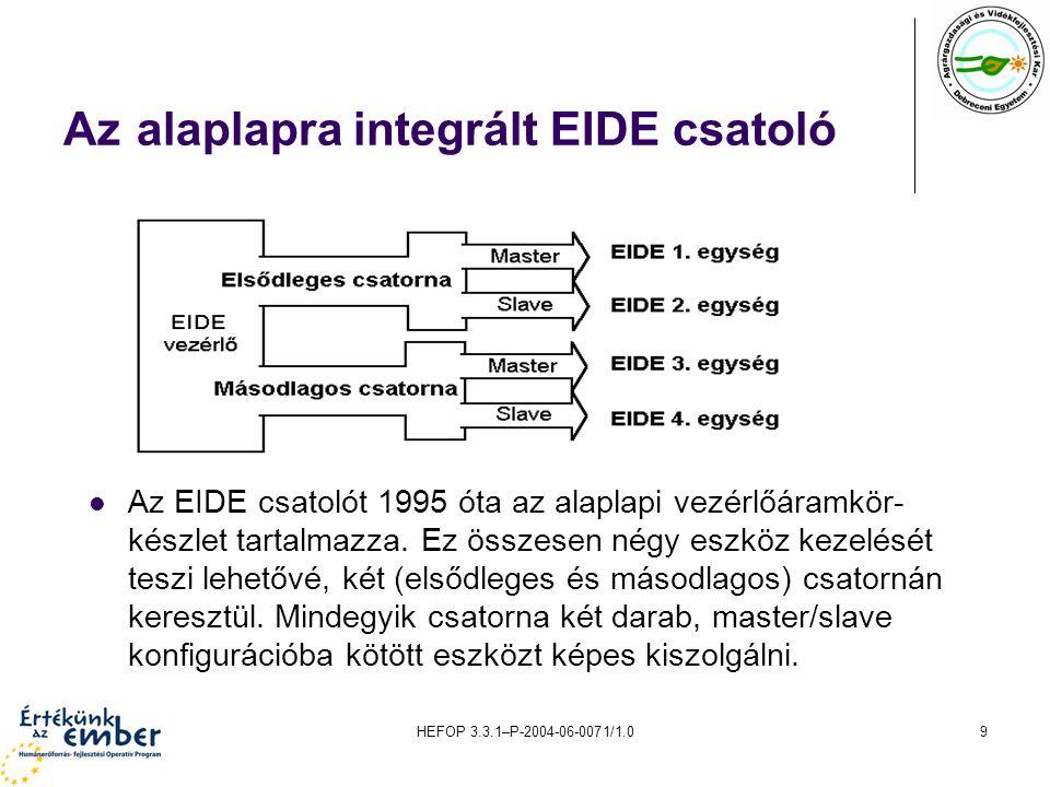 Az alaplapra integrált EIDE csatoló