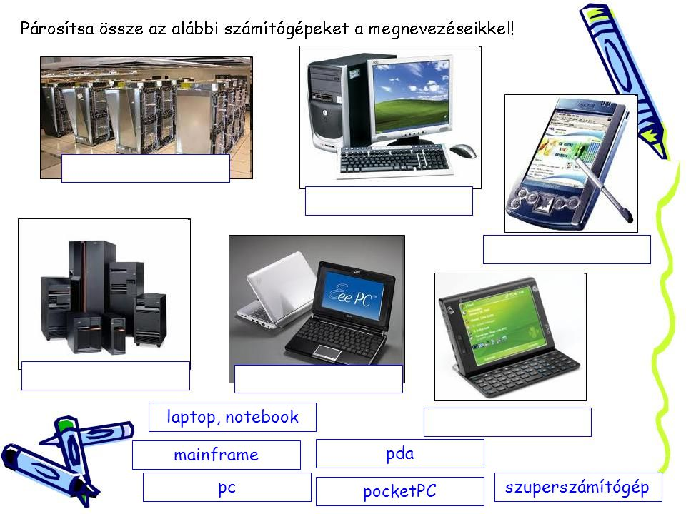 laptop, notebook mainframe pda pc pocketPC szuperszámítógép