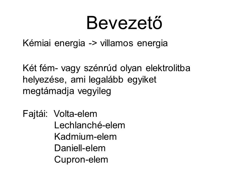 Bevezető Kémiai energia -> villamos energia