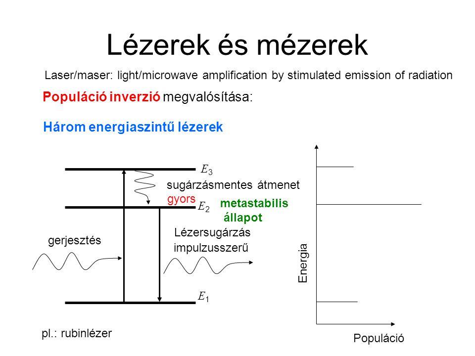 Lézerek és mézerek Populáció inverzió megvalósítása: