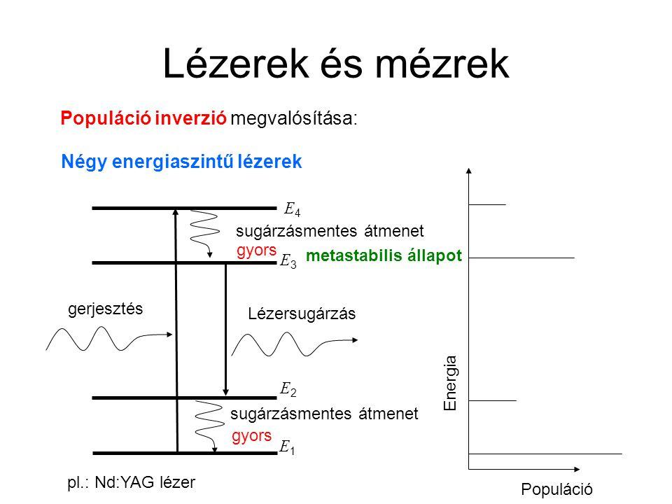 Lézerek és mézrek Populáció inverzió megvalósítása: