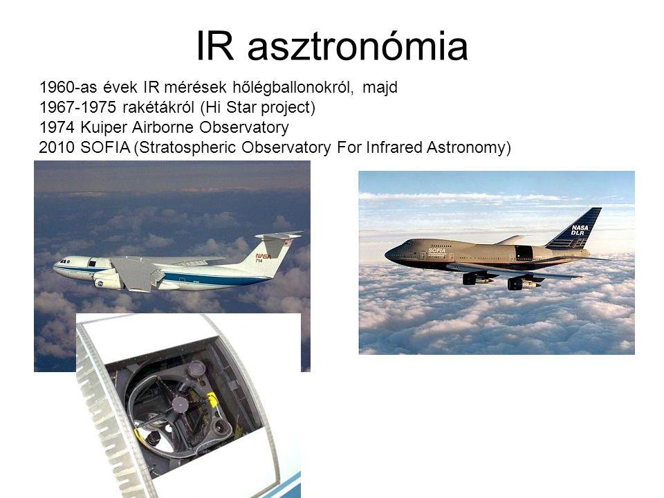 IR asztronómia 1960-as évek IR mérések hőlégballonokról, majd