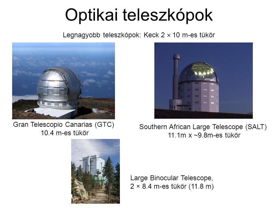 Optikai teleszkópok Legnagyobb teleszkópok: Keck 2  10 m-es tükör