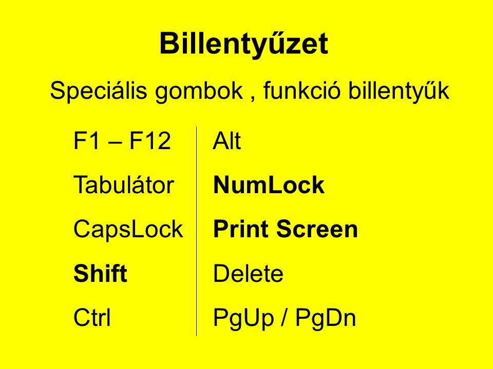 Billentyűzet Speciális gombok , funkció billentyűk F1 – F12 Tabulátor