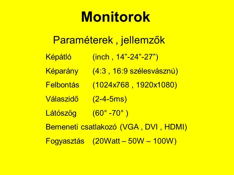 Monitorok Paraméterek , jellemzők Képátló (inch , 14 -24 -27 )