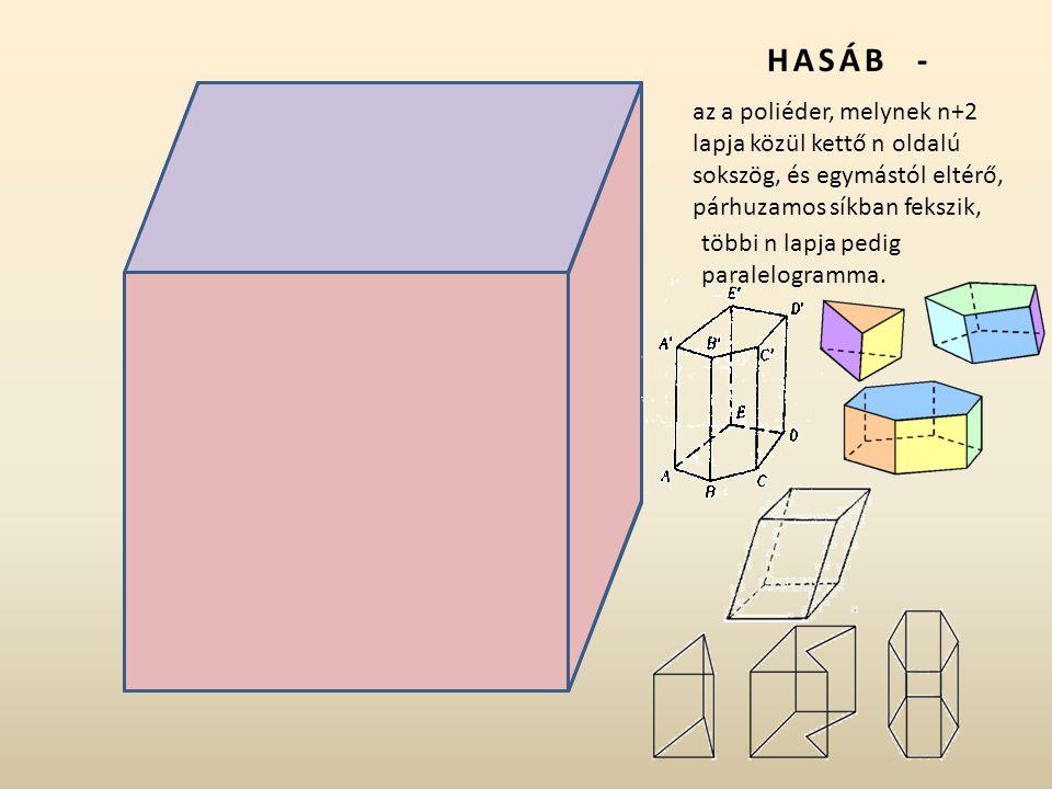 HASÁB - az a poliéder, melynek n+2 lapja közül kettő n oldalú sokszög, és egymástól eltérő, párhuzamos síkban fekszik,