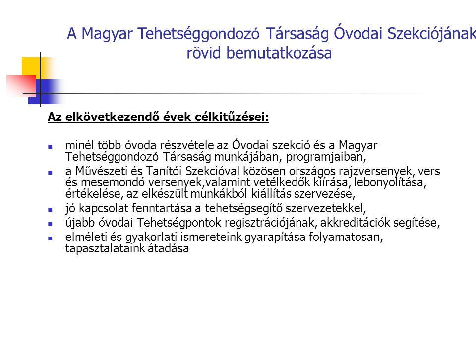 A Magyar Tehetséggondozó Társaság Óvodai Szekciójának