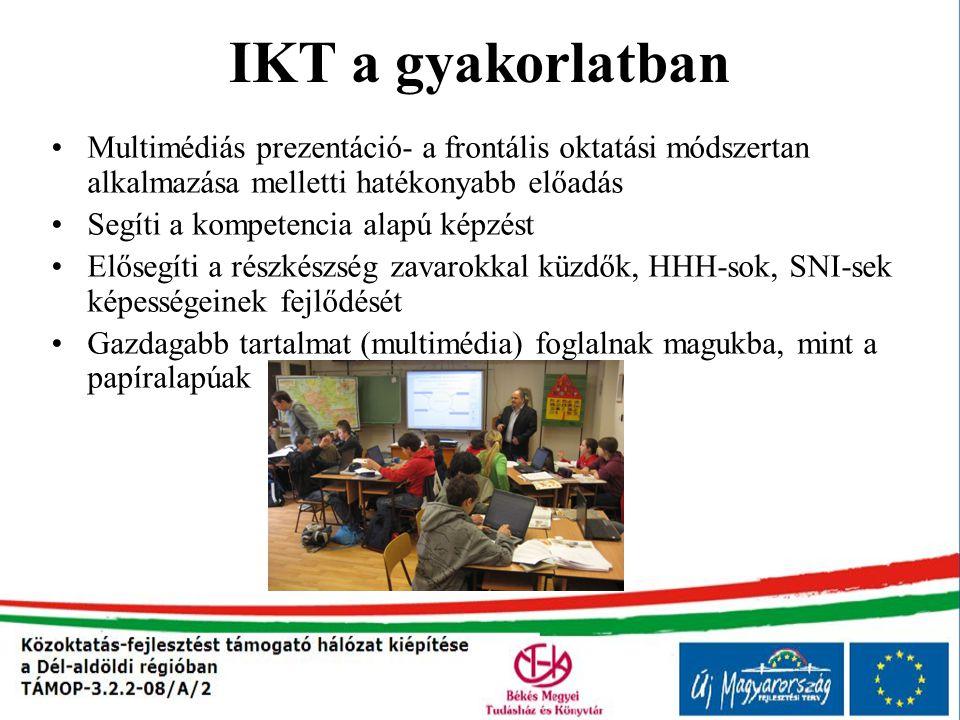 IKT a gyakorlatban Multimédiás prezentáció- a frontális oktatási módszertan alkalmazása melletti hatékonyabb előadás.
