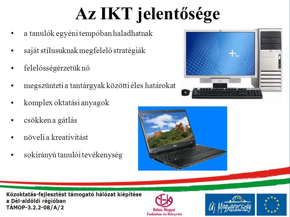 Az IKT jelentősége a tanulók egyéni tempóban haladhatnak