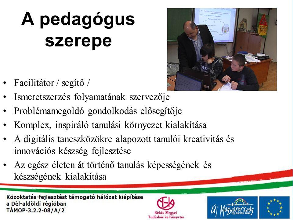 A pedagógus szerepe Facilitátor / segítő /