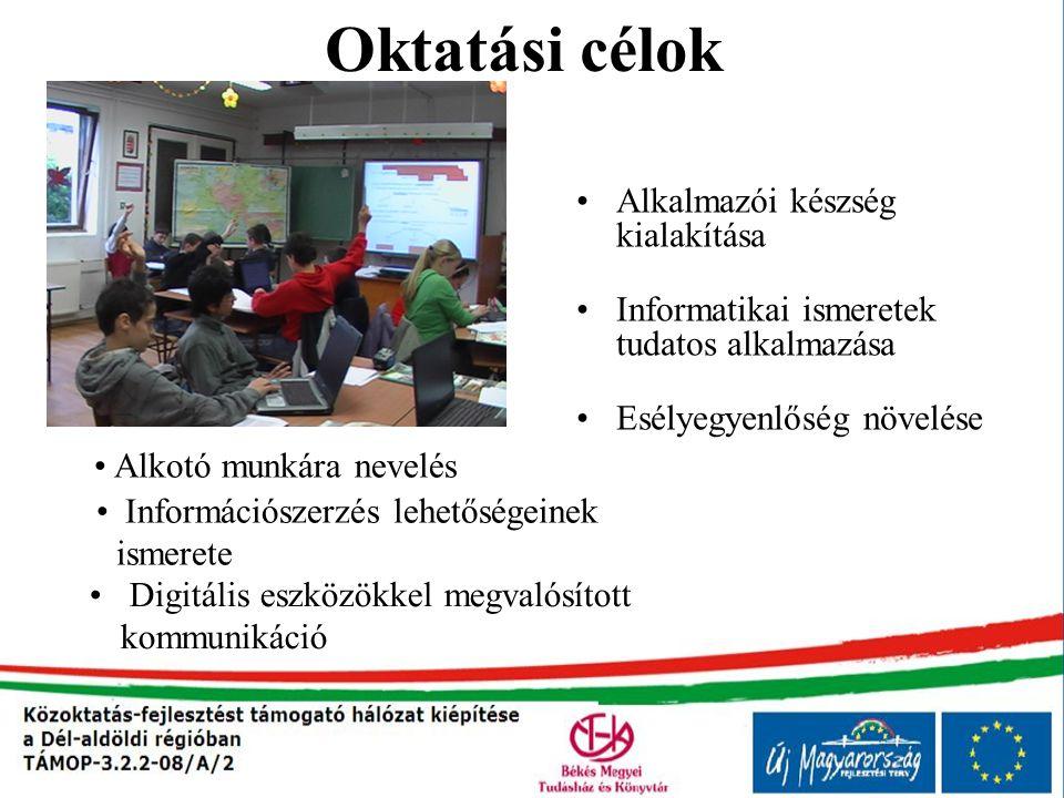 Oktatási célok Alkalmazói készség kialakítása