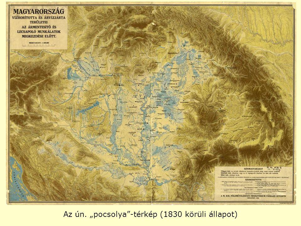 """Az ún. """"pocsolya -térkép (1830 körüli állapot)"""