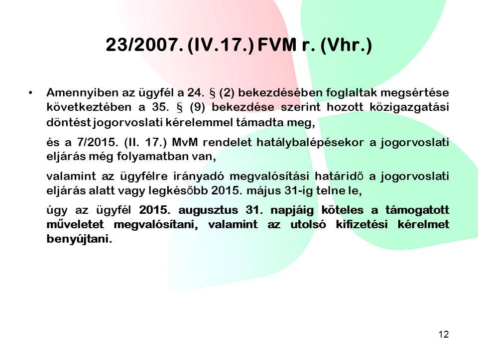 23/2007. (IV.17.) FVM r. (Vhr.)