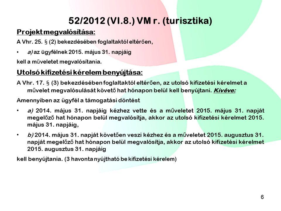 52/2012 (VI.8.) VM r. (turisztika)