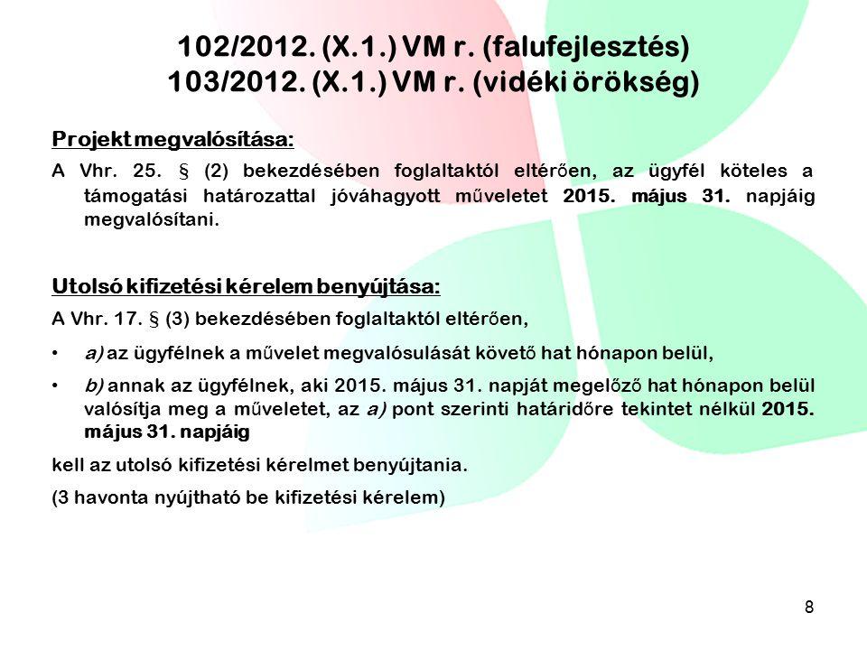 102/2012. (X. 1. ) VM r. (falufejlesztés) 103/2012. (X. 1. ) VM r